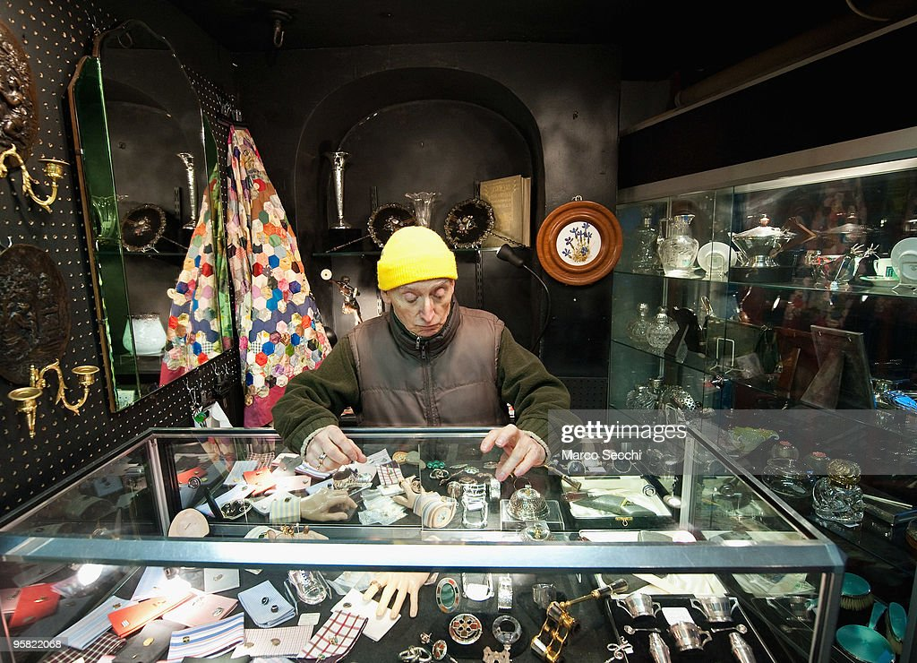 One of the stall holders in Portobello Road on January 16, 2010 in London, England. Portobello traders fear for the Market's future after Lipka's Antiques Arcade, where more than 150 traders had their stalls, was redeveloped to accommodate a large High street chain store.