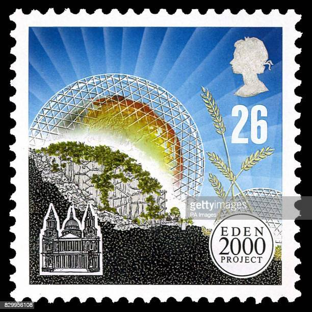 One of the stamps depicting the Eden Millennium Project near St Austell Cornwall which has already received a 34 million pound grant from the...