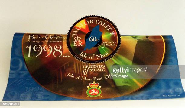 One of the stamps honouring the pop group the Bee Gees that are to be issued on October 12 1999 in the Isle Of Man the island of their birth where...