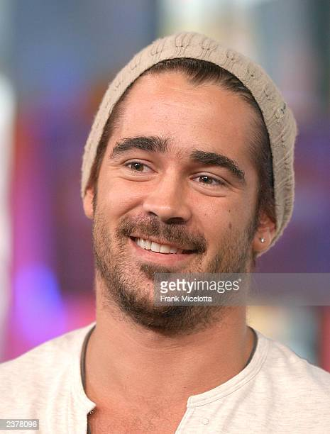 One of the stars of the new film 'SWA T' actor Colin Farrell appears on MTV TRL at the MTV Times Square Studios August 7 2003 in New York City