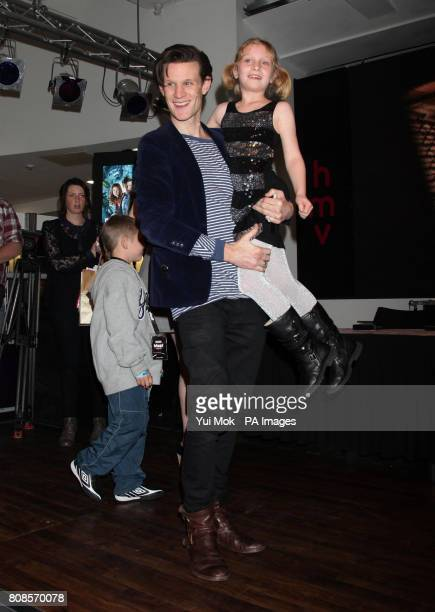 One of the stars of the show Matt Smith with Eleanor Maddocks aged seven from Brighton during an instore signing for the DVD boxset of BBC1 TV show...