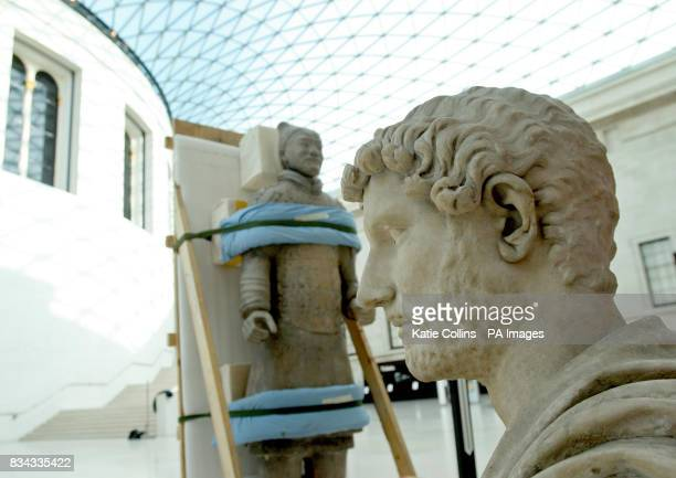 One of the Terracotta Warriors from the exhibition at the British Museum is taken to be shipped back to China whilst a bust from Hadrian Empire and...