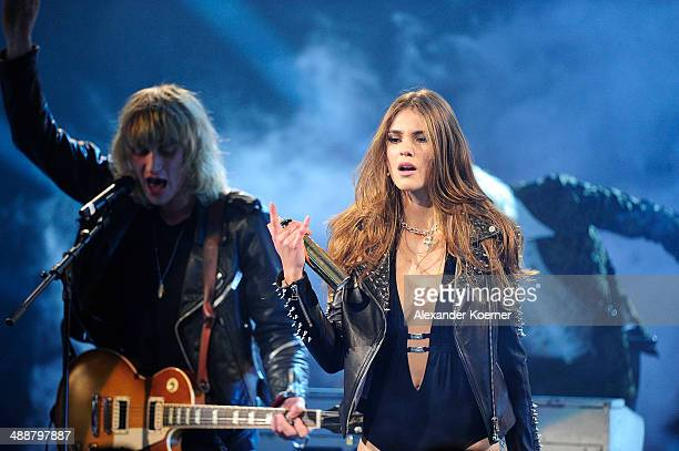 One of the three models Stefanie Giesinger is pictured during a fashion shoot for hairspray during the final of Germanys Next Top Model TV show at...