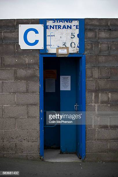 One of the turnstile doors at Barrow AFC's Furness Building Society Stadium prior to the delayed kickoff of the Barrow v Newport County Conference...