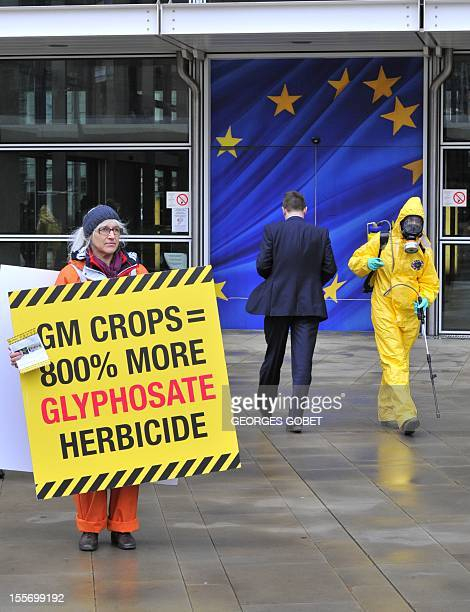 """One of the twenty seven activists one for each EU member state display a banner reading """"toxic warning"""" outside the Commission headquarters on..."""