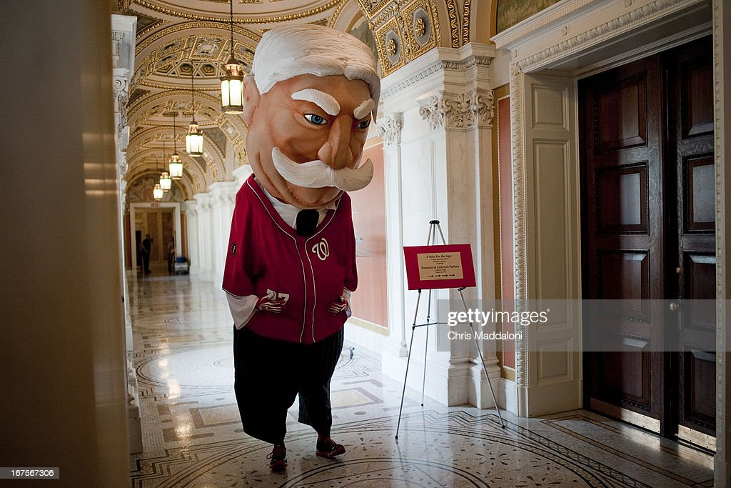 One of the Washington Nationals mascots, President Taft of the Racing Presidents, waits to appear at an event for Bob Wolff, the pioneering television voice of the Washington Senators. Wolf was speaking at the official announcement & celebration of his donation of the historic recording collection to Library of Congress. The Hall of Fame sports broadcaster's career covers nearly 75 years and touches nine decades – the longest of any sportscaster in broadcast history.