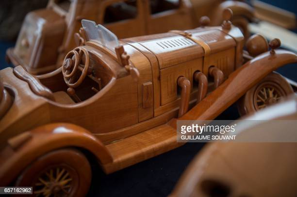 One of the wooden modle built by French cabinetmaker Michel Robillard is displayed at his workshop on March 20 near Loches Central France A retired...