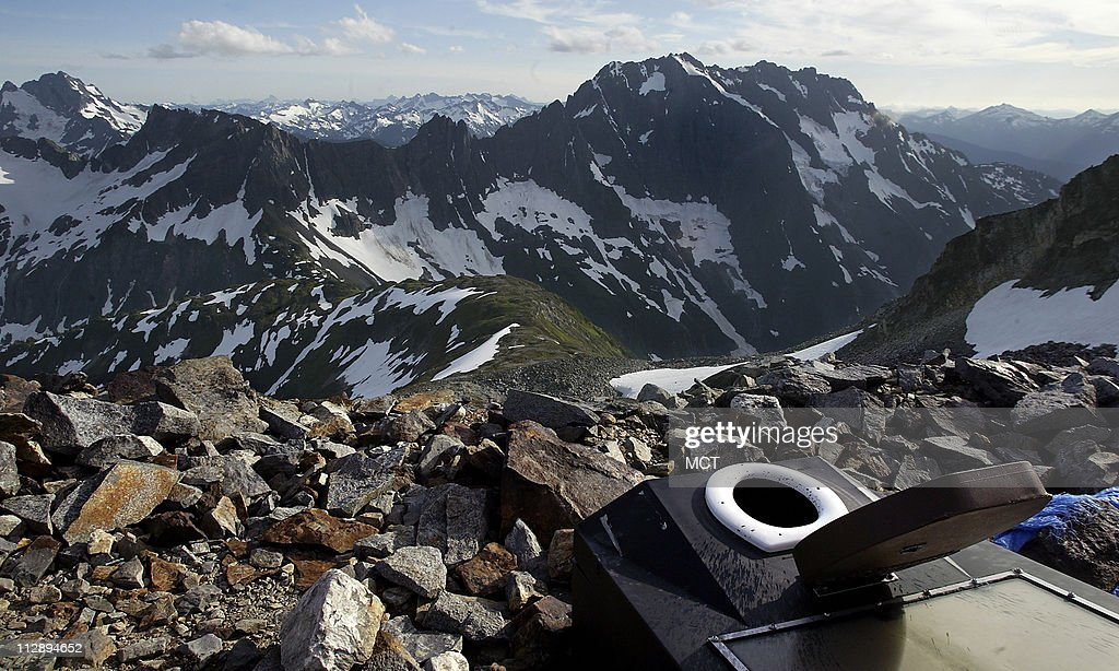 One of the world's most beautiful toilets, exclaimed a hiker when describing the view from his favorite seat in the North Cascades. The view looks south from Sahale Glacier, July 2008.