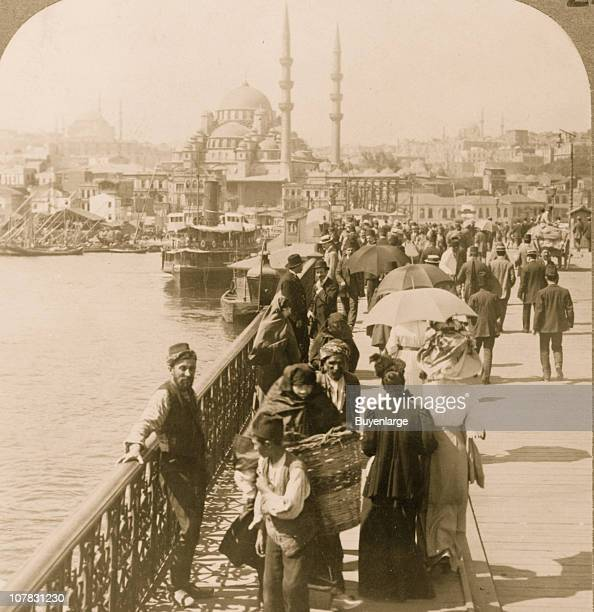 One of the world's most famous bridges S W from Galata to Istanbul Constantinople