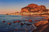 Panoramic view on one of the sea cities in Sicily at sunset