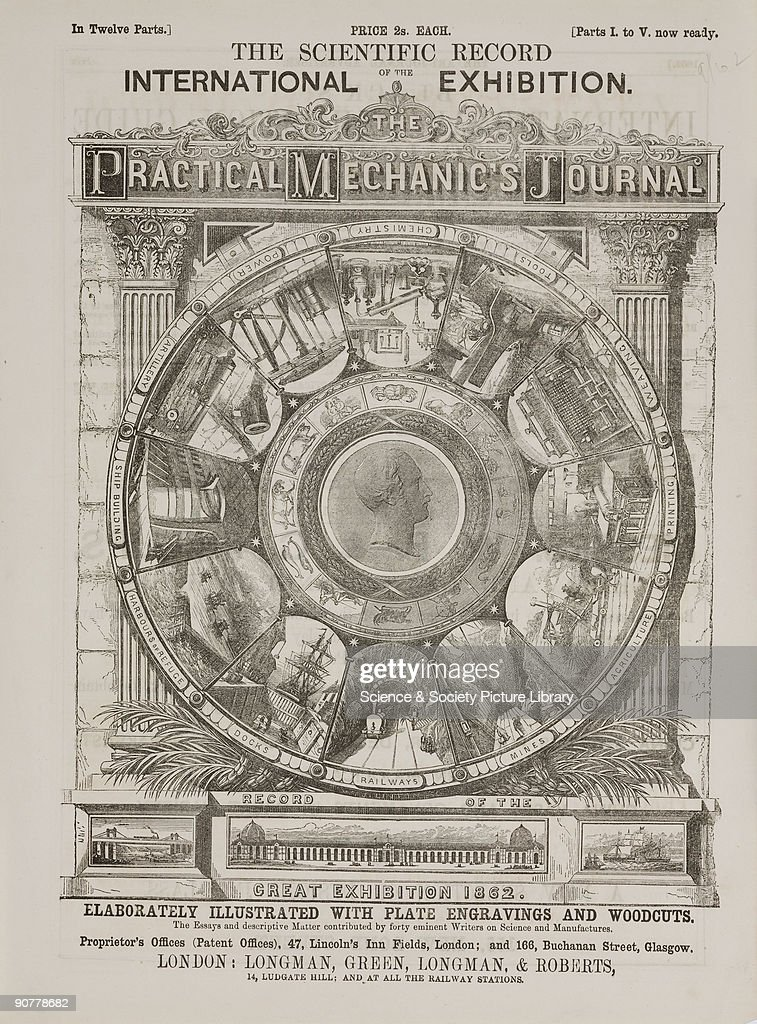 One of twelve tear sheets of the Scientific Record of the Great International Exhibition 1862 showing a circle with 12 illustrations of industry...