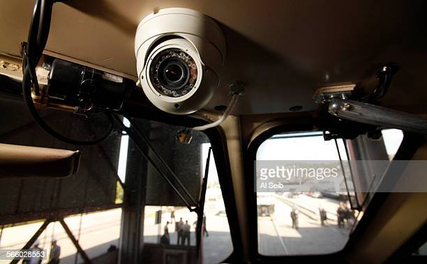 One of two inwardfacing cameras installed in the locomotive cabin of a Metrolink train that was previewed at a press conference Monday morning at the...