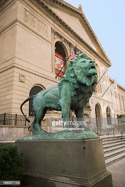 One of two Lion sculptures outside The Art Institute of Chicago located on Michigan Avenue in downtown Chicago Illinois