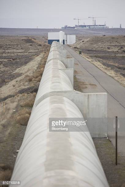 One of two vacuum chambers measuring four kilometers in length is seen at the Laser Interferometer GravitationalWave Observatory at the Hanford Site...
