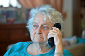 An old lady on the phone