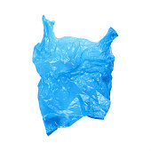 it is one open wrinkled blue plastic bag isolated on white.