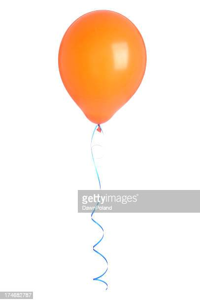 One orange balloon with a blue string floating on white back