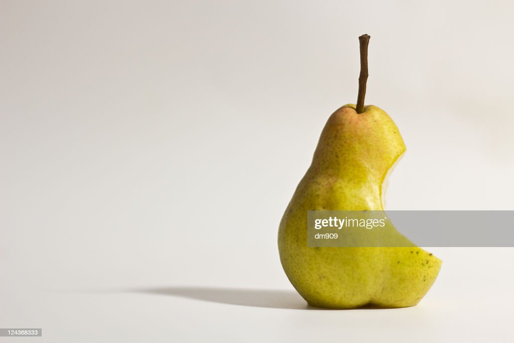 One pear with shadow