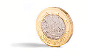 A close-up shot of the new British one pound coin over a white background.