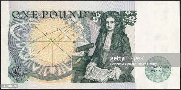 One pound note showing the portrait of Sir Isaac Newton One pound note showing the portrait of Sir Isaac Newton The prism on the table beside Newton...