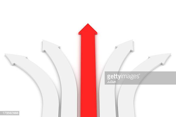 One red arrow going straight with four white curved arrows