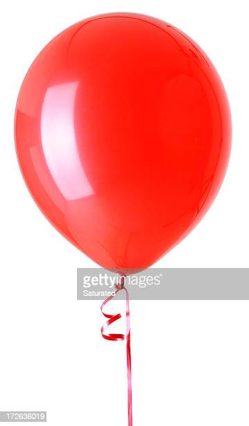One Red Balloon Isolated on White Background