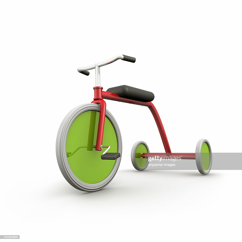 One Red Tricycle with Green Wheels