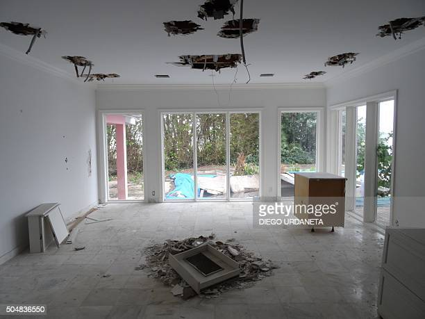 One room of a house that used to belong to notorious Colombian drug lord Pablo Escobar on January 13 2016 in Miami Beach FL The new owner of the...