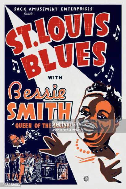 One sheet movie poster advertises 'St Louis Blues' starring Bessie Smith Jimmy Mordecai Isabel Washington and James P Johnson 1929