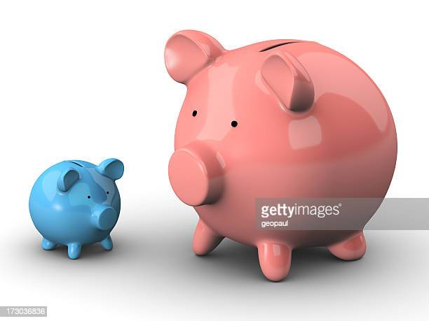 One small blue and one large pink piggy bank
