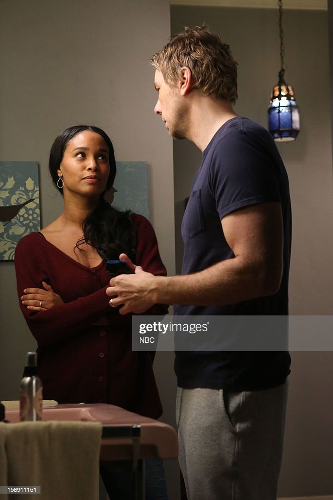 PARENTHOOD -- 'One Step Forward, Two Steps Back' Episode 414 -- Pictured: (l-r) <a gi-track='captionPersonalityLinkClicked' href=/galleries/search?phrase=Joy+Bryant&family=editorial&specificpeople=207047 ng-click='$event.stopPropagation()'>Joy Bryant</a> as Jasmine Trussell, <a gi-track='captionPersonalityLinkClicked' href=/galleries/search?phrase=Dax+Shepard&family=editorial&specificpeople=810830 ng-click='$event.stopPropagation()'>Dax Shepard</a> as Crosby Braverman --