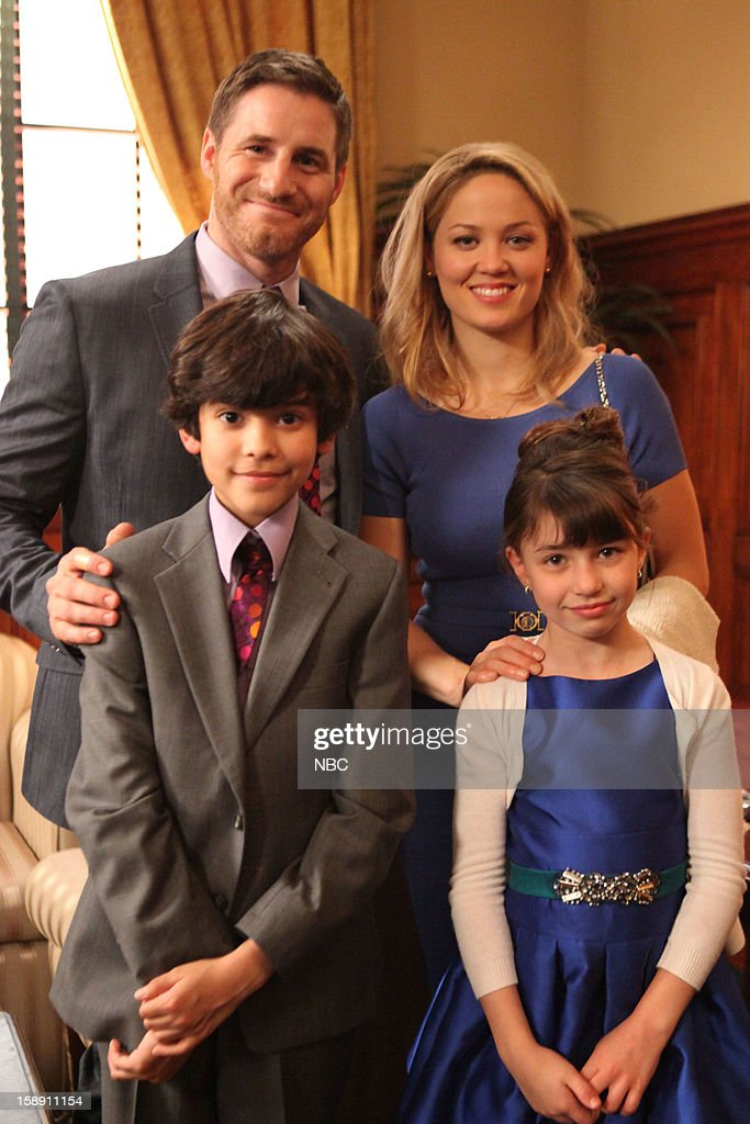PARENTHOOD -- 'One Step Forward, Two Steps Back' Episode 414 -- Pictured: (l-r) Sam Jaeger as Joel Graham, Xolo Mariduena as Victor, <a gi-track='captionPersonalityLinkClicked' href=/galleries/search?phrase=Erika+Christensen&family=editorial&specificpeople=202168 ng-click='$event.stopPropagation()'>Erika Christensen</a> as Julia Braverman-Graham, Savannah Paige Rae as Sydney Graham --
