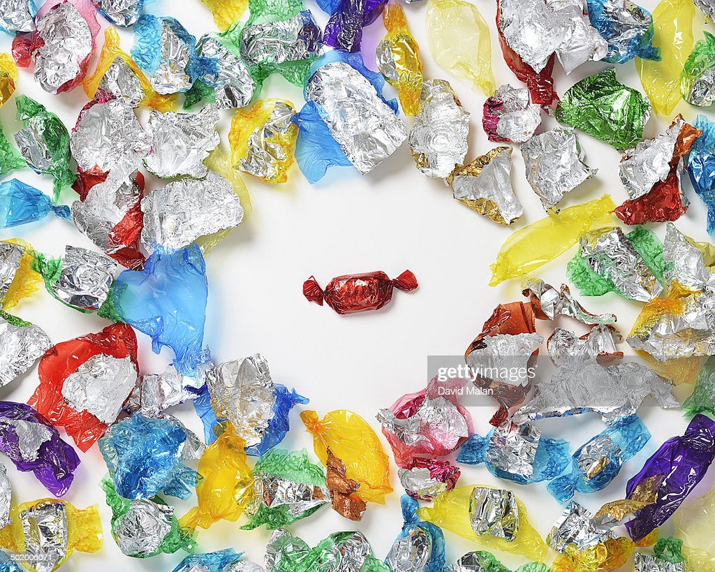 One sweet amongst empty wrappers