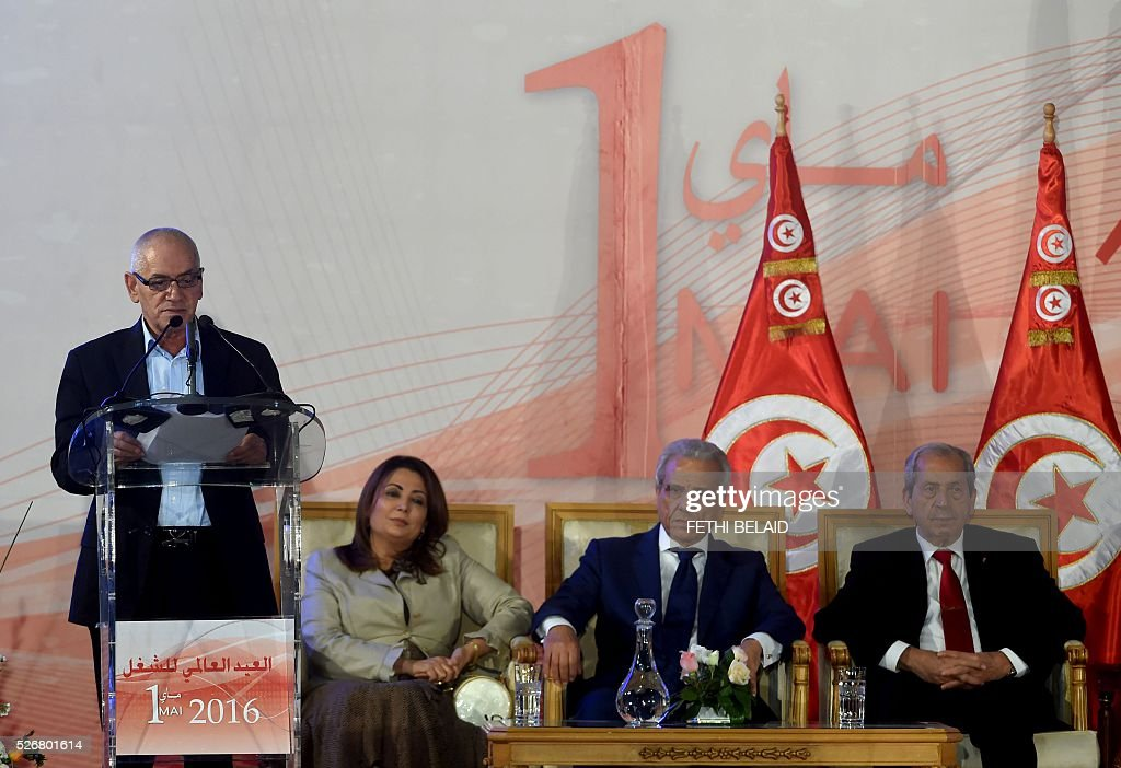 One the 2015 Nobel Peace Prize laureates of the Tunisian National Dialogue Quartet, the Secretary General of the Tunisian General Labour Union, Houcine Abbassi (L) delivers a speech during May Day celebrations, in the capital Tunis, on May 1, 2016. / AFP / FETHI