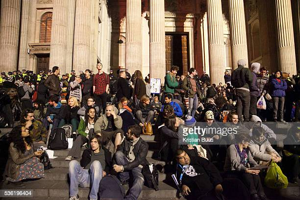One the steps at night The London Stock Exchange was attempted occypied in solidarity with Occupy Wall in Street in New York and in protest againts...