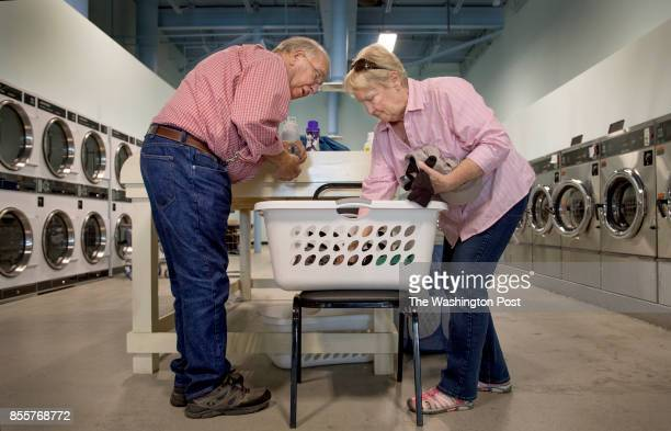 One their day off Jeannie and Richard Dever take their clothes to a local laundromat in Ellsworth ME on June 22 2017 The Devers are Workampers mainly...