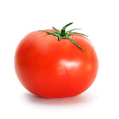 One tomato with drops on white background