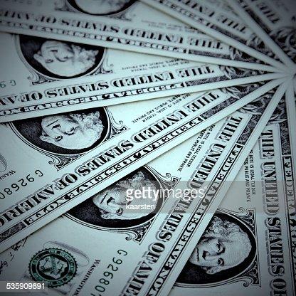 Fundo de notas de Um Dólar dos Estados Unidos : Foto de stock