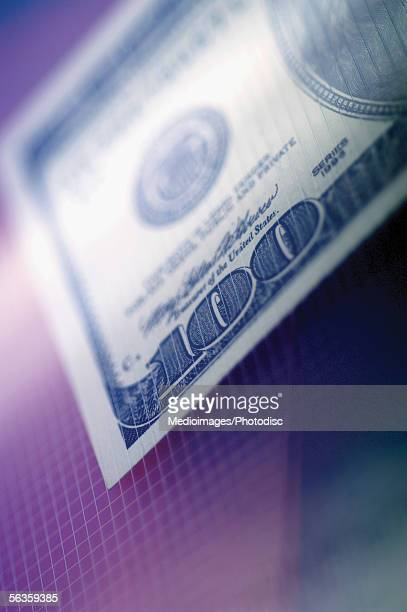 One US hundred dollar bill, close-up