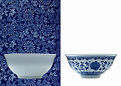 One white and one blue porcelain bowl (opposite backgrounds)