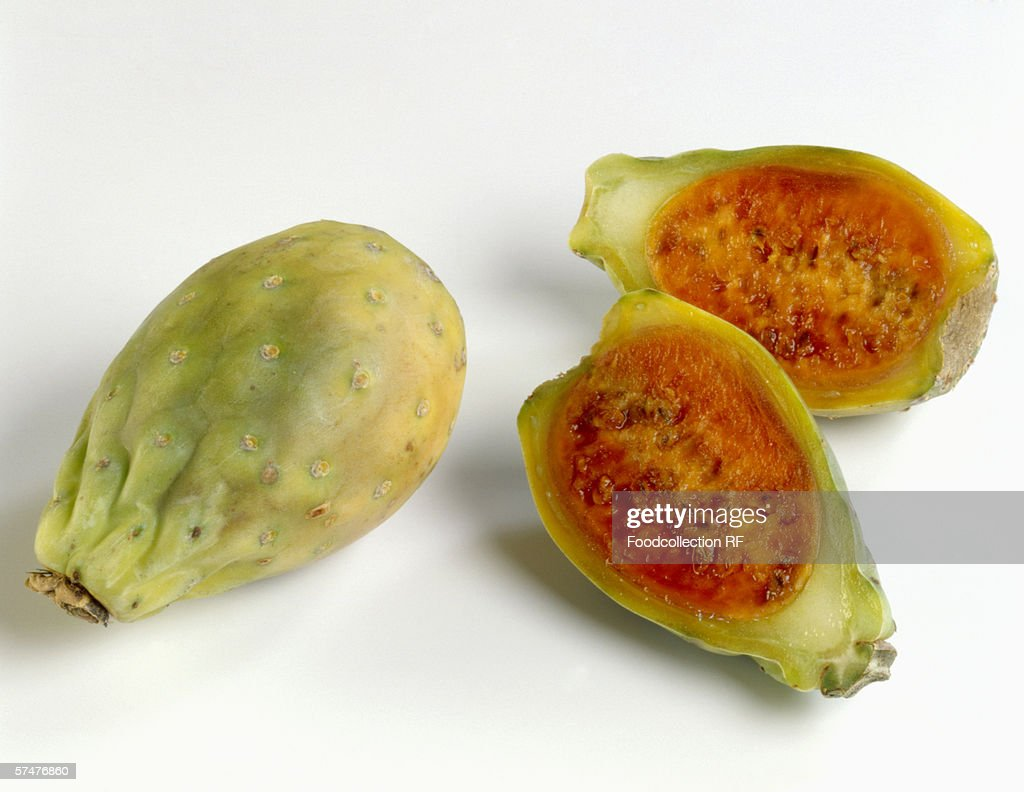 One whole and one halved prickly pear