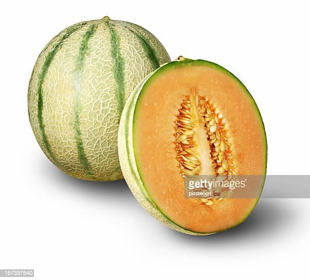 One whole cantaloupe and one half