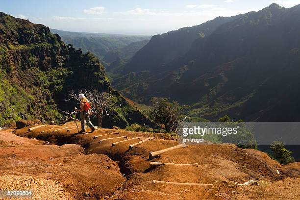 One woman hiking a Waimea Canyon trail, Hawaii.