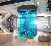 One woman in the  aquarium. The modern loft interior with aquarium. 3d concept