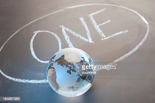 One world concept with globe