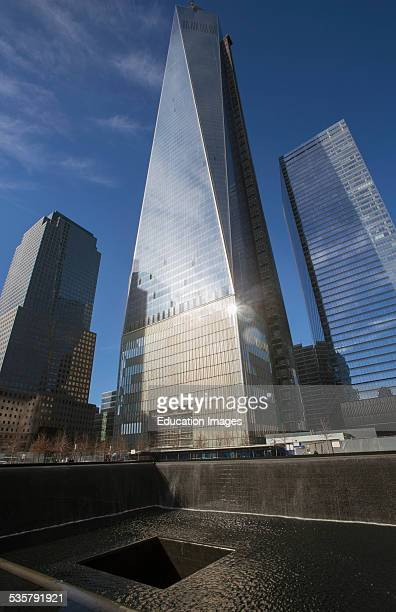 One World Trade Center Freedom Tower and Footprint of WTC National September 11 Memorial New York City New York