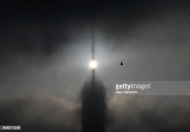 One World Trade Center in New York City casts a shadow as the sun rises in the fog on September 16 as seen from Jersey City NJ