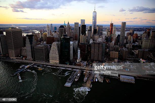 One World Trade Center is seen from above during sunset on December 30 2014 in New York City