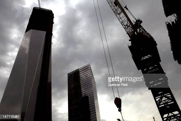 One World Trade Center is viewed from Three World Tade Center on June 25 2012 in New York City A ceremony was held at Four World Trade Center as the...