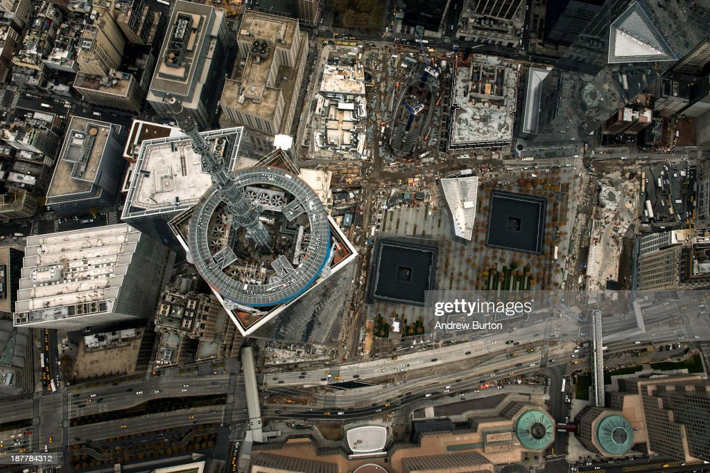 One World Trade Center, seen from a helicopter looking directly down on the building, is seen on November 12, 2013 in New York City. The building was deemed the tallest building in North America today; the title was previously held by Willis Tower in Chicago (previously titled Sears Tower).